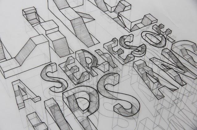 tipografia 3D de Lex Wilson