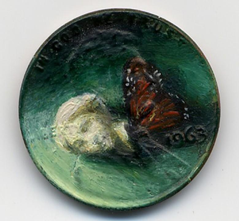 pinturas minusculas em moedas