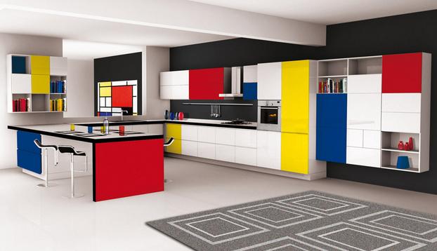 Ambiente inspirado na obra de Piet Mondrian