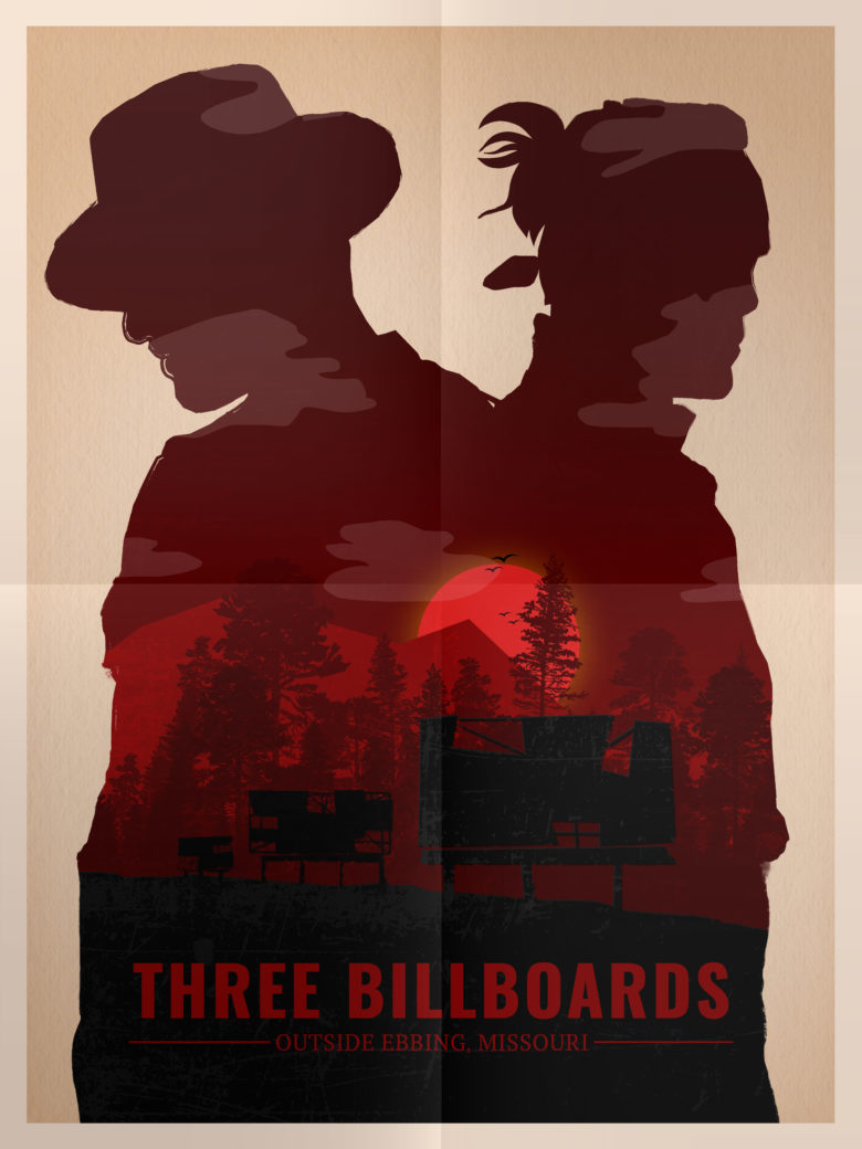 Three Billboards - inspired by Olly Moss, designed by Jackelyne Catillo:Shutterstock